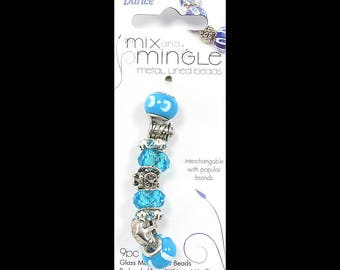 Mix and Mingle Nautical Theme Pack Metal Lined Glass Beads and Charms