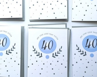 40 Milestone Monogram Birthday Forty Chic Beautiful Elegant Dots Single Note Greeting Card