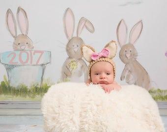 Bunny Bonnet - Baby Bunny - Rabbit Hat - Costume -  Easter - Halloween - Baby Costume - Photography Prop - Photo Prop