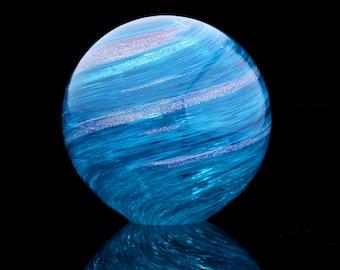Ocean's Orb, blown glass paperweight