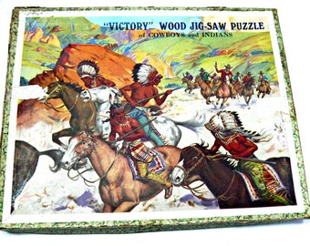 """Vintage G. J. Hayter Wood Victory Jigsaw Puzzle """"Cowboys and Indians"""" - Made in England - Rare - 120 Pieces"""