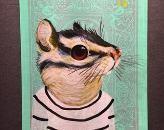 Chipmunks portrait on a playing cards. 2017