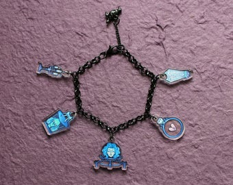Foolish Mortals Charm Bracelet, double sided charms on black chain. Inspired by Haunted Mansion.