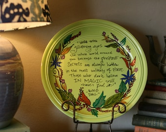 """Hand Painted Decorative Platter - Roald Dahl - """"Watch with glittering eyes"""" - Large, lime green dinner plate - Floral artwork"""