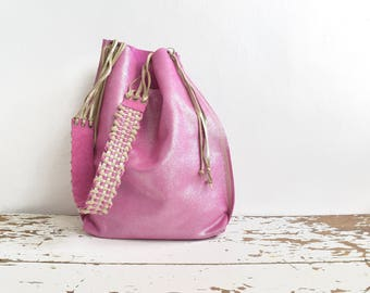 Fuschia Pink Shimmer Suede Tote with Tassels and Handwoven Strap - Ready to Ship - OOAK