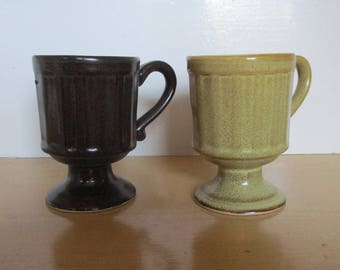 Vintage Mugs - Japanese Speckled Stoneware Mugs, Pedestal Mugs, Brown and Gold Sand Shades, Made in Japan, Mid-Century Stoneware, 1970s