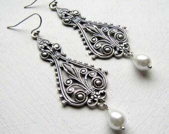 Art Nouveau Earrings Filigree Earrings White Pearl Earrings Wedding Earrings Bridal Earrings 1920's Downton Abbey Great Gatsby Jewelry