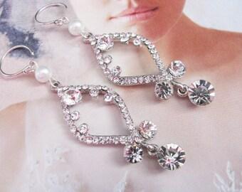 chandelier earrings, bridal earrings, wedding earrings, wedding jewelry, statement earrings, long bridal earrings, long pearl earrings