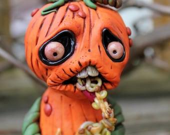 Puking Pumpkin Jack O Lantern Halloween Polymer Clay Sculpture