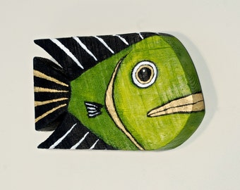 Wood Fish Art Handmade Decor Painted Olive Green Reclaimed Barnwood