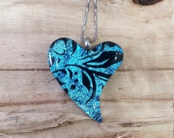 Turquoise blue dichroic fused glass heart pendant with black floral design stainless steel chain 045