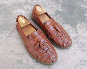 Vintage Mens 9 Slatters Sandals Australian Authentic Brown Leather Woven Tassel Loafers Oxfords Huaraches Fisherman Sandals Braided Beach