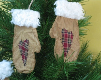 Christmas Mitten Ornaments - Primitive Flat Mittens with Hearts - Muslin Grungy Fabric - Primitive Decor -Christmas Ornaments