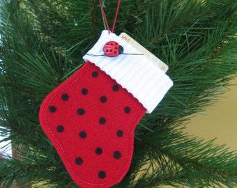 Lady Bug Gift Card Holder - Ready 2 Ship - Lady Bug Felt Christmas Stocking Ornament - Felt Gift Card Holder - Red Christmas Stocking