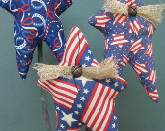 Americana Star Plant Pokes - Primitive Stuffed Stars - Set of 3 - Crock Pokes - Patriotic Fabric Grungy - Americana Home Decor - July 4th