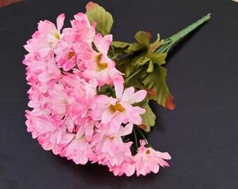 Silk Flower supply Pink Daisy Bush bridal accessories DIY wedding craft supplies bouquet Centerpieces corsage flower crown hair combs