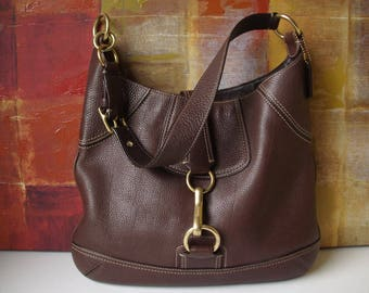 Vintage COACH Handbag Brown Pebble Leather Hobo Bucket Purse