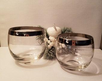 Vintage silver rimmed roly poly mad men drink glasses