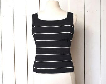 15% OFF - 7 Day Sale Vintage Tank Top Early 90s Black White 90210 Preppy Nautical Sleeveless Fitted Blouse Medium Large
