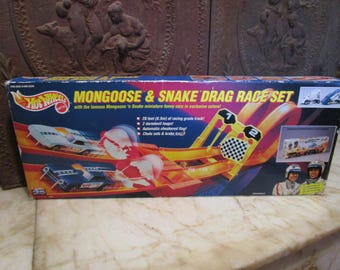 Vintage 1993' 'Hot Wheels' 'Mongoose and Snake' drag race set, unopened, in original box! 1970s replica!