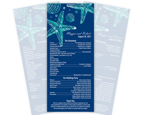Beach Wedding Programs or Menus, Tea Length, Custom Printed, 20 Pieces Per Order
