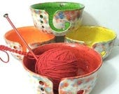 SALE Fun-Fetti Wide Mouth Yarn Bowl Ceramic Choose your inside color - handmade in my Charleston, SC studio