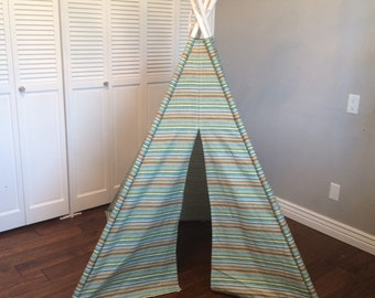 Ue, Green, Brown, Yellow, and White, Multi-colored, Striped, Play Teepee, Tee Pee, Tent (poles included) Ready to Ship