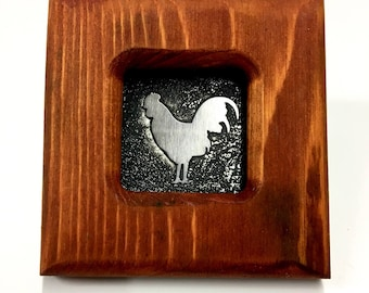 Rooster - Etched Stainless Wall Art - Handmade, Frame and All