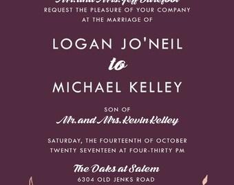 Custom Listing for Logan Barefoot, Burgundy Invitations | Rose Gold Wedding Set | Laurel Wreath Stationery | Discount Wedding Invite Suite