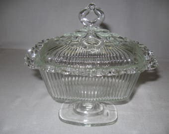 Indiana Glass Co  Wedding Box Filigree Oblong Open Lace Clear Candy Dish 1980
