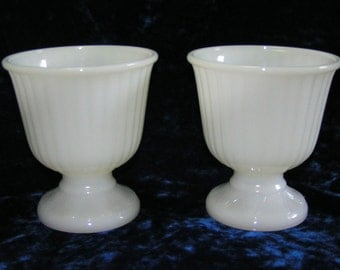 Pair of Milk Glass Footed Vase Pedestal Planter Inarco USA Vintage Ribbed Urn
