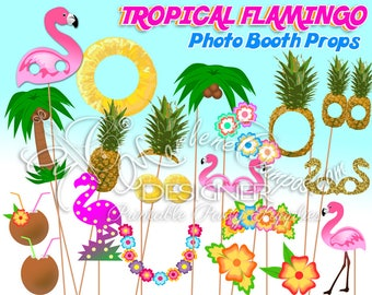 Flamingo photo booth props, Flamingo Party, Tropical party, Flamingo props, Photo Booth props set, Printable, INSTANT DOWNLOAD