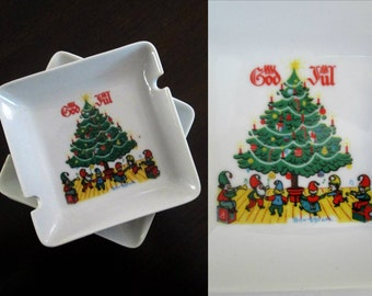 God Jul Scandinavian Christmas Small Plates Set of 4