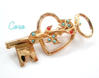 Coro Sterling Skeleton Key Heart Brooch / The Key To My Heart Pin