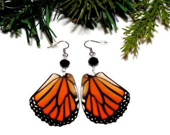 Real Butterfly Earrings, Female Monarch Butterfly, Nature Earrings
