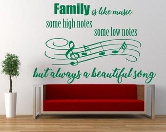 Family Like Music Quote - Matt Vinyl Wall Art Sticker Decal Mural. Home, Wall Decor. Living Room, Bedroom. Beautiful Song