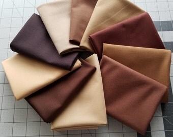 Brown Kona Cotton Bundle, Robert Kaufman Fabrics