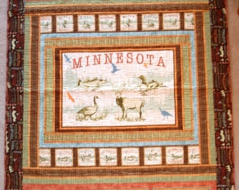 Twin Lap Throw Quilt Minnesota Brown Words