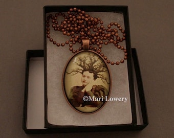 Avante Garde Copper Pendant Necklace with Long Chain and Gift Box, Woman with Tree Hair Wearable Art Jewelry