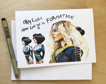 Beyonce Portrait and Inspiring quote, Formation, 5x7 greeting card, Ready to Ship