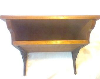Vintage wooden & cast iron wall mounted desk shelf