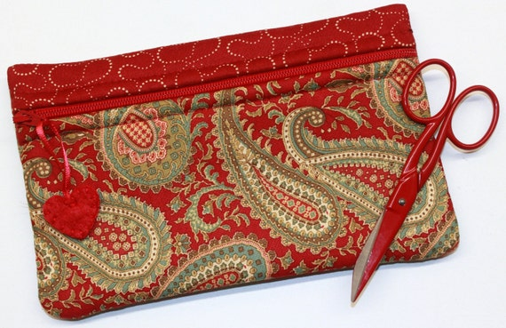 Side Kick Deep Red Paisley