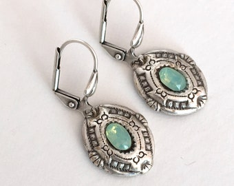 Silver And Pacific Opal Boho Lever Back Earrings