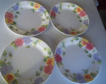 """4 Corelle Summer Blush AKA Pansies Bread plates 7 1/4"""" Plates, Made in the USA"""