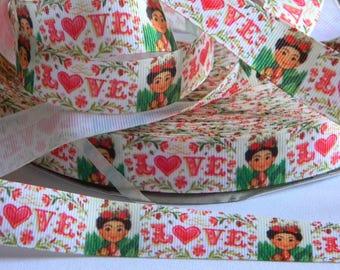 "Frieda Kahlo Grosgrain Ribbon 5 yards of 7/8"" Freida Kahlo Print White Ribbon for Sewing Hair Bows Floral Print with LOVE & Spanish Artist"