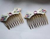 Art Deco Jeweled Inlaid Combs - Set of 2