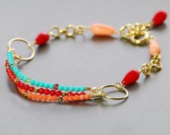 Coral, Turquoise Multi Gem Bracelet by Agusha.