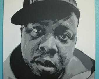 """A Tribe Called Quest Phife Dawg Memorial Tribute Stencil Painting by Beau Pope in Grayscale Colors 18"""" x 24"""" Canvas"""