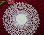 """Exceptional Vintage Tatted Doily 14"""" Round, Tatting, Linen Center"""