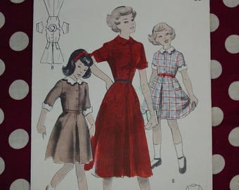 Vintage Pattern c.1950's Butterick No.4962 Girls Dress Size 6